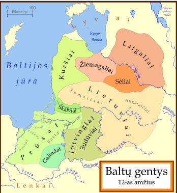 Baltų gentys 12a. pagal M.Gimbutienę