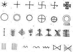 Neolito (prieš ca 4.000 metų) keramokos ornamentų pavyzdžiai