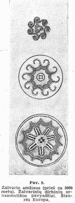 Žalvario amžiaus. Žalvarinių dirbinių ornamanetikos pavyzdžiai